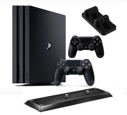 Sony Computer Entertainment Sony PlayStation 4 Pro (1TB) (CUH-7116B) + 2 контроллера + док-станция на 2 контроллера + вертикальный стенд