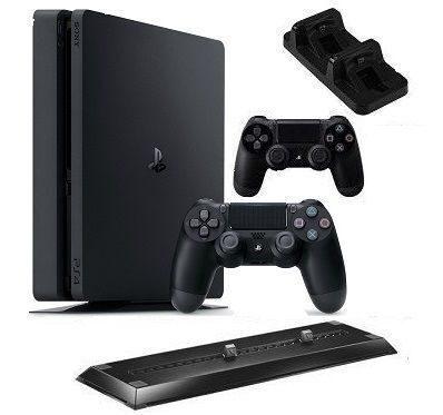 Sony Computer Entertainment Sony PlayStation 4 Slim (1TB) (CUH-2116B) + 2 контроллера + док-станция на 2 контроллера + вертикальный стенд