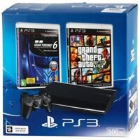 Sony PlayStation 3 Super Slim 500GB (CECH-4308A ) + GTA V + Gran Turismo 6