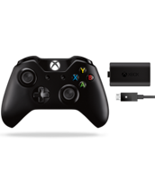 Геймпад Microsoft Xbox One Wireless Controller + Play and Charge Kit (аккумулятор и кабель)  (чёрный) (XBOX One)